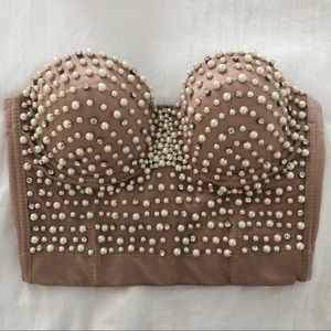Nude Pearl Diamond Bustier Bra Top